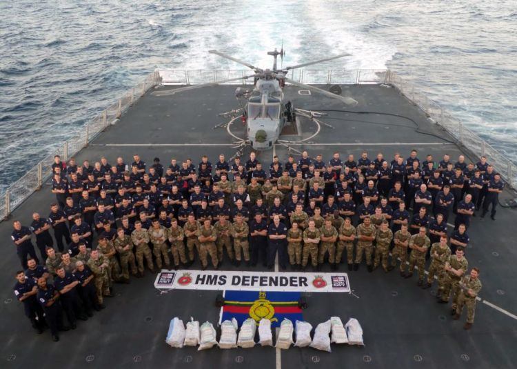 HMS Defender crew celebrate drugs bust worth £3.3 million 231219 CREDIT ROYAL NAVY