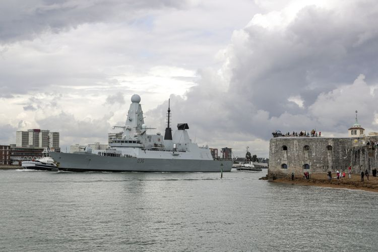 HMS Defender left Portsmouth to embark on operations to the Asia Pacific CREDIT Royal Navy