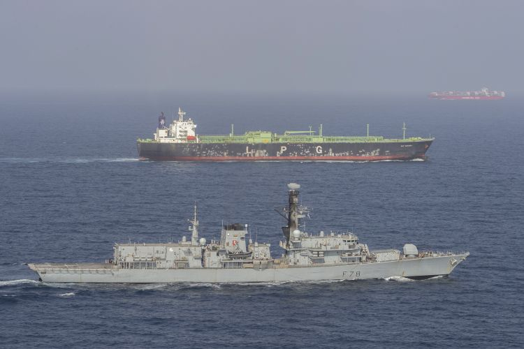 HMS Kent accompanies British shipping through the Strait of Hormuz
