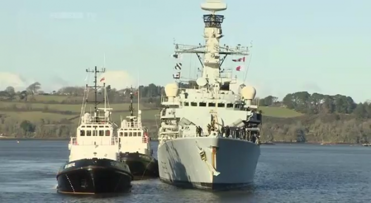 HMS Monmouth, moments before coming alongside in Devonport.