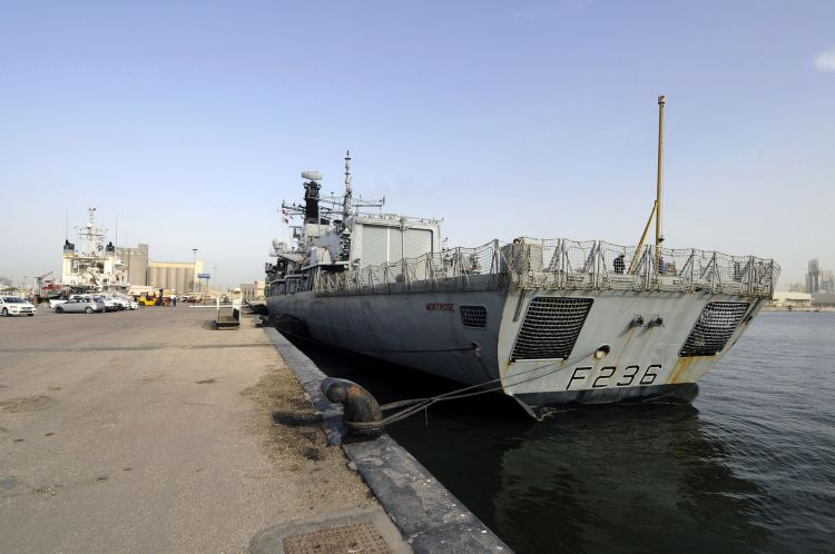 HMS Montrose docked at the UK Naval Support Facility (Picture: Royal Navy).