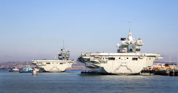 HMS Queen Elizabeth and HMS Prince of Wales side by side for the first time 041219 CREDIT ROYAL NAVY