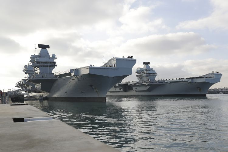 HMS Queen Elizabeth and HMS Prince of Wales together