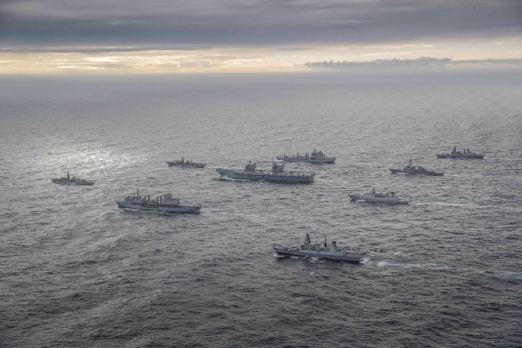 HMS Queen Elizabeth during Exercise Joint Warrior surrounded by other vessels as Carrier Strike Group forms 051020 CREDIT ROYAL NAVY 2