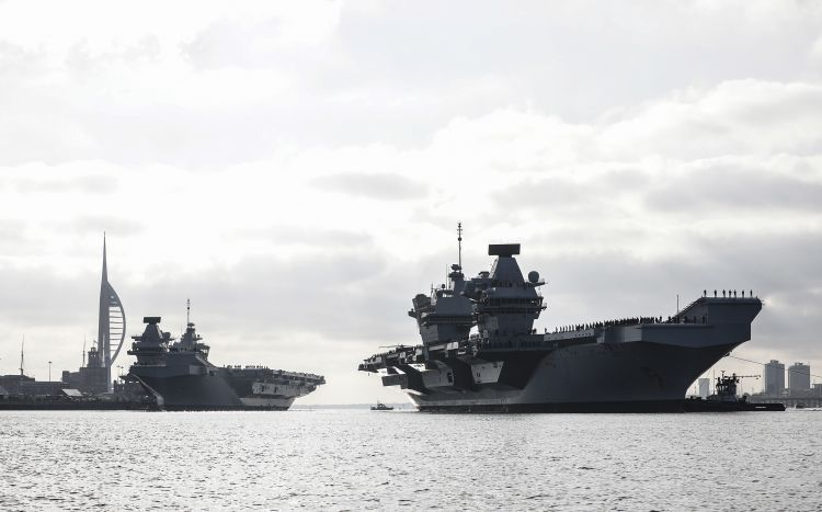 HMS Queen Elizabeth sails past HMS Prince of Wales for first time 041219 CREDIT ROYAL NAVY