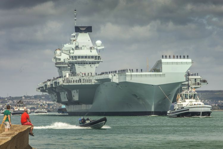 HMS Queen Elizabeth sets sail from Portsmouth 300819 CREDIT ROYAL NAVY