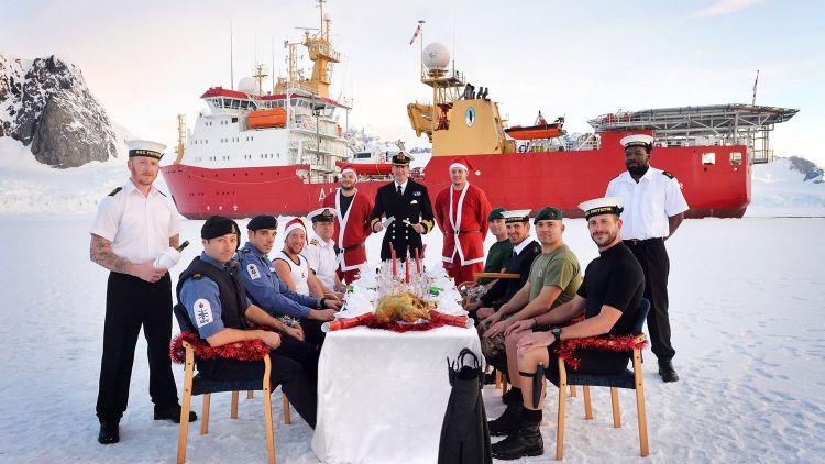 HMS Protector Official Christmas Photo 02.12.13 Christmas Dinner Icebergs Credit MOD & LA(Phot) Vicki Benwell