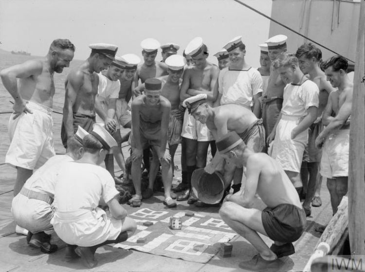 HMS Verity Game Uckers Royal Navy Second World War WW2 © IWM (A 24717)