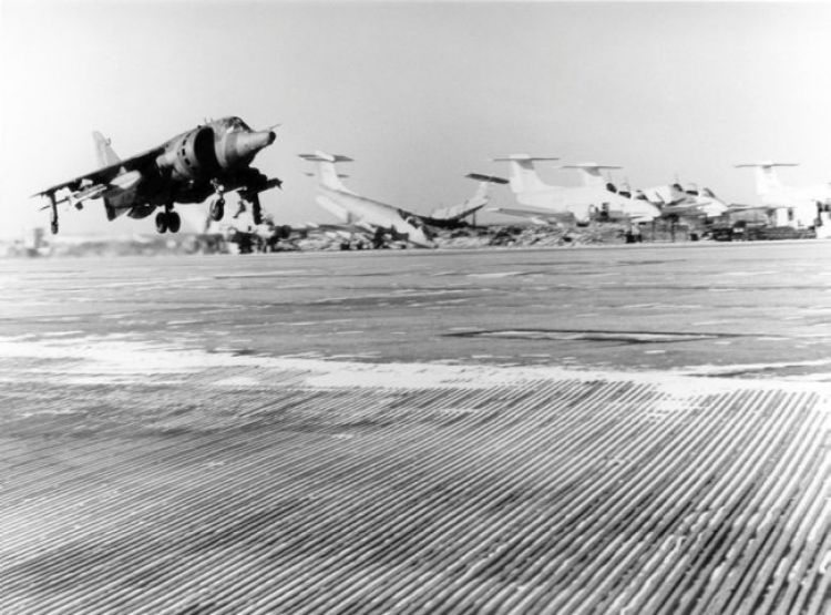 Harrier GR3 taking off from Port Stanley during Falklands War
