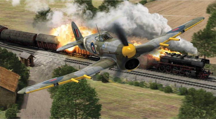 RAF typhoon strafing a train