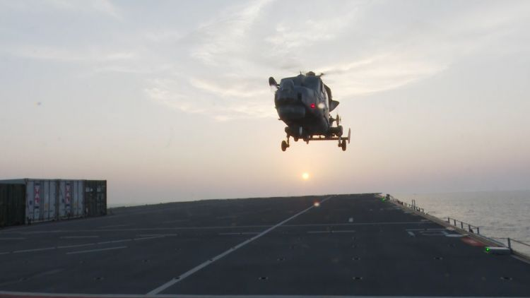 Helicopter lands on HMS Albion 021118 CREDIT BFBS