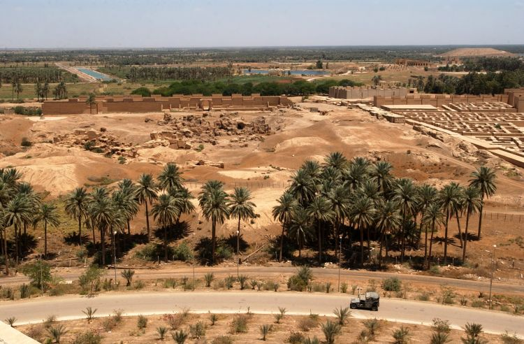 The ruins of ancient Babylon seen from Saddam Hussein's palace