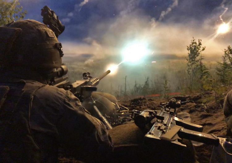 45 Commando Royal Marines, firing a 50 calibre Heavy Machine Gun in Estonia on Exercise Baltic Protector 2019, as part of the Joint Expeditionary Force (JEF) in Tapa