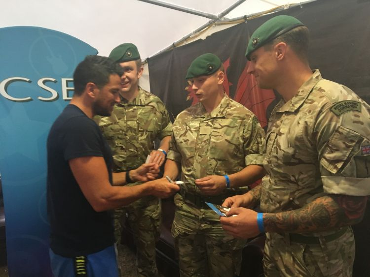 Peter Andre meets soldiers at MOD Lyneham at CIVPOP2018
