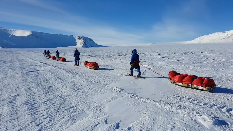 The Ice Maidens on their trek through Antarctica