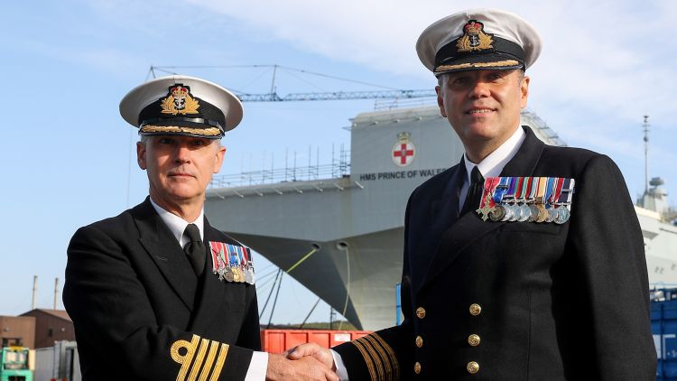 In 2018 Commanding Officer Capt Stephen Moorhouse OBE took over from Senior Naval Officer Capt Ian Groon MBE 170519 CREDIT MOD Crown Copyright.jpg