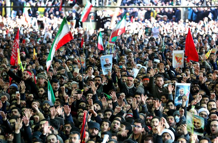 Iranian mourners during General Qassem Soleimani's funeral in Tehran