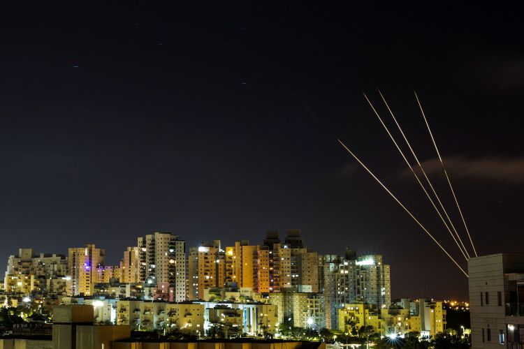 Israel's Iron Dome anti-missile system intercepts rockets launched from the Gaza Strip into Israel 180521 CREDIT REUTERS, ALAMY STOCK PHOTO