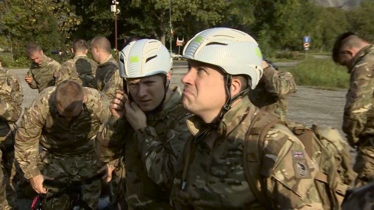Royal Anglian Regiment reservists contemplate the Sacra di Saint Michele Monastery.