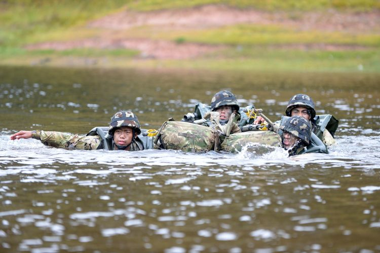 Teams will have to cross a water obstacle during Cambrian Patrol. Credit: Crown Copyright