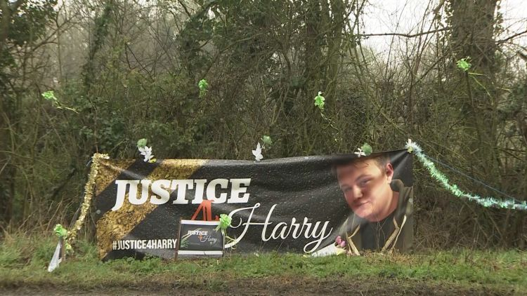 Justice for Harry Dunn banner near RAF Croughton