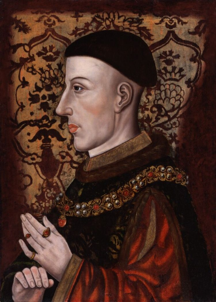 A portrait of the king that is inaccurate in that it lacks the scar he would have had on his left cheek (King Henry V by unknown artist © National Portrait Gallery, London)