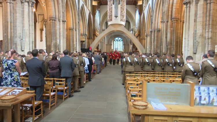 Inside Llandaff Cathedral for the commemorations.