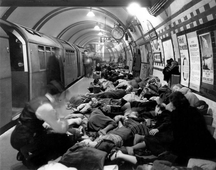 Londoners sleep in a West End underground station during Germany's bombing campaign, The Blitz, in September 1940 (Picture: PA).