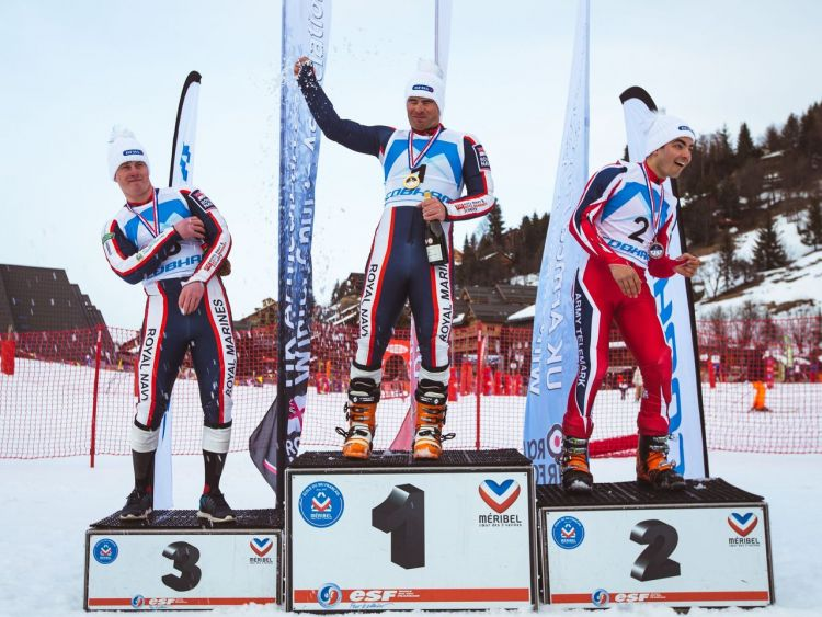Lt James French celebrates winning the Telemark Giant Slalom Final 020320 CREDIT CROWN COPYRIGHT.