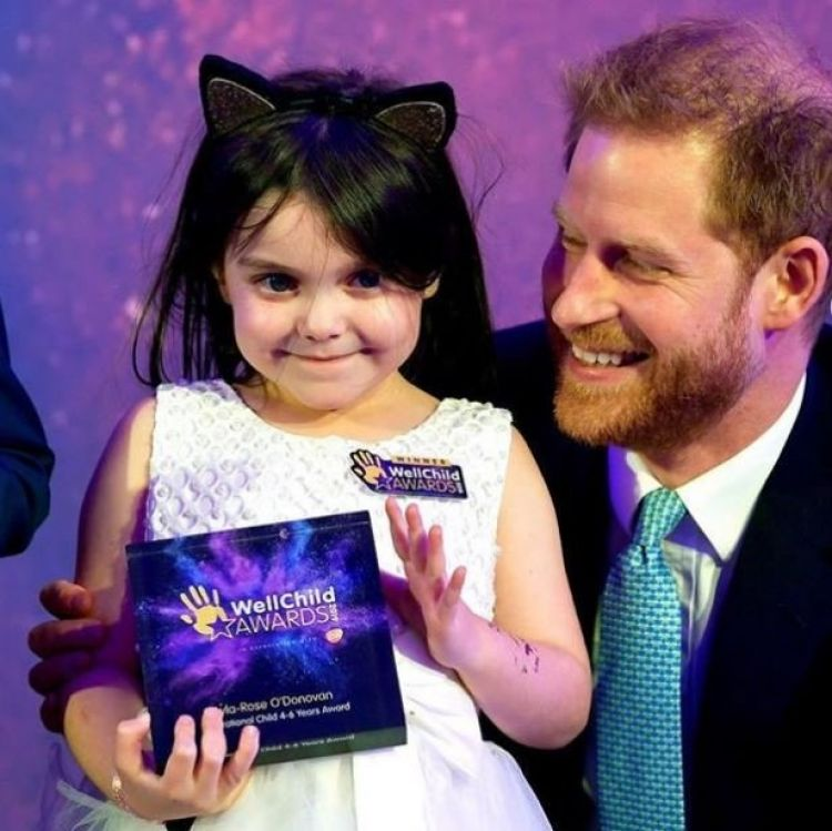 Lyla O'Donovan who has a brain tumour with Prince Harry 161119 CREDIT BRAIN TUMOUR RESEARCH