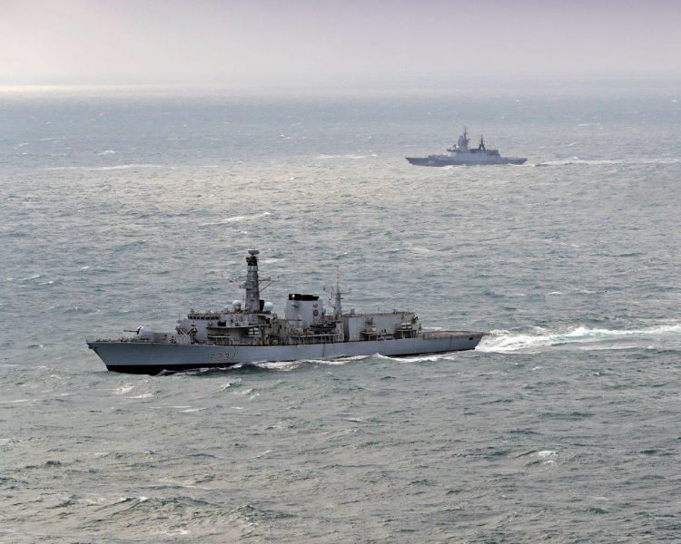 HMS Westminster Escorts Russian Ships Through The Channel