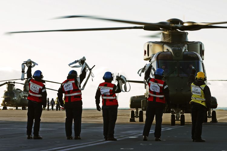 Naval Air Squadron Fully Embarks In HMS Queen Elizabeth For First Time