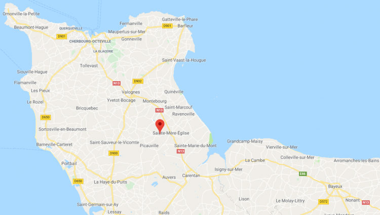 A map of the Contentin peninsula, part of Normandy, with an arrow over La Fiere (image: Google)