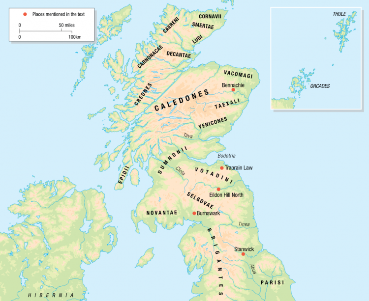 Map of tribes in Britain during Roman occupation