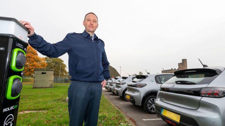 Mechanical Transport Officer at RAF Leeming, Warrant Officer Russ Sanders, with electric cars 241120 CREDIT RAF.jpg