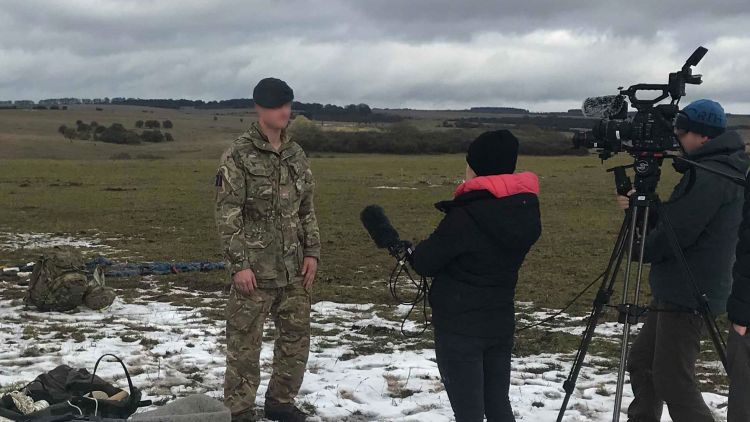 Media And The Military Interview Soldier Camera Equipment Snow