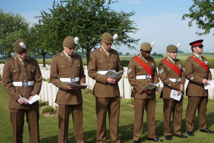 Members of the 1st Battalion The Royal Welsh, participate at the rededication service for Cpl Davies 190619 CREDIT Crown Copyright.jpg