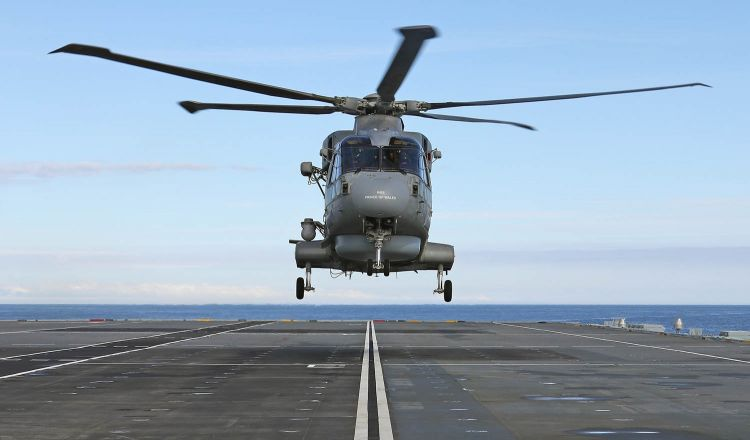 Merlin helicopter landing on board HMS Prince of Wales
