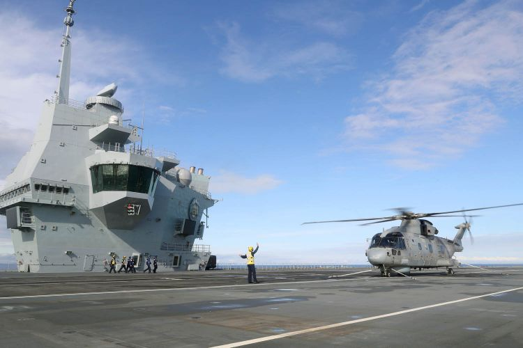 Merlin helicopter on board HMS Prince of Wales