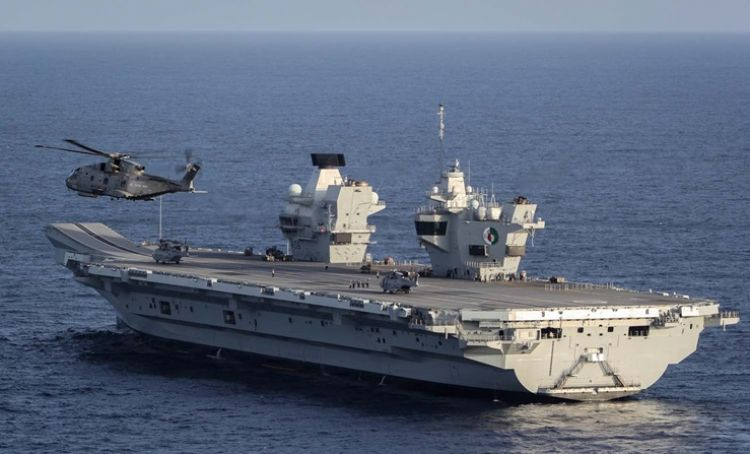 Merlin on HMS Queen Elizabeth - credit - Royal Navy
