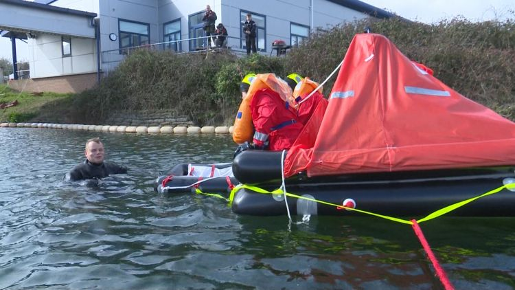 Mike and his partner during training in water 050319 CREDIT BFBS