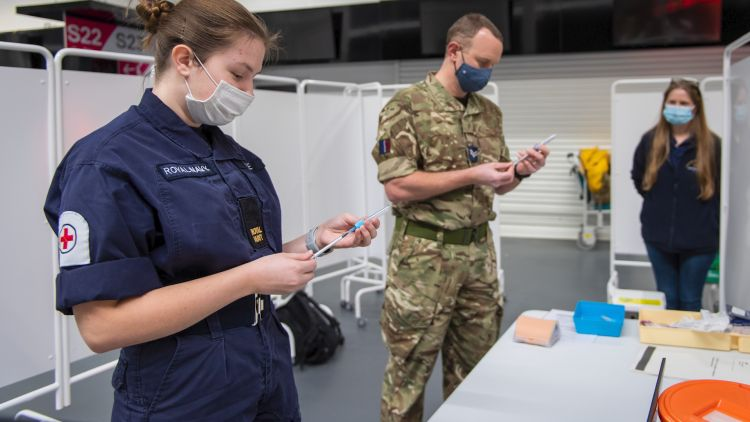 Military personnel at Ashton Gate help with COVID19 coronavirus response DATE UNKNOWN used on 120121 CREDIT MOD.jpg