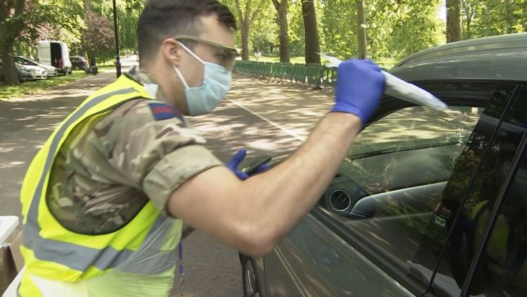 Military personnel hands test to driver in Hyde Park CORONAVIRUS 150520 CREDIT BFBS.jpg