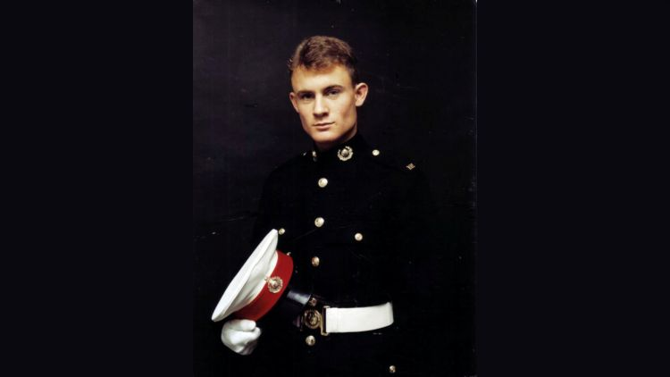 Mr Thrall during his time in the Royal Marines (Picture: SWNS).