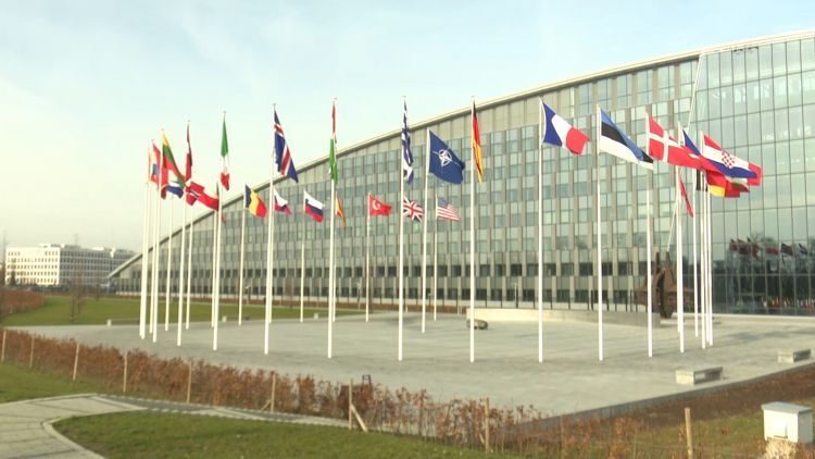 NATO HQ with flags