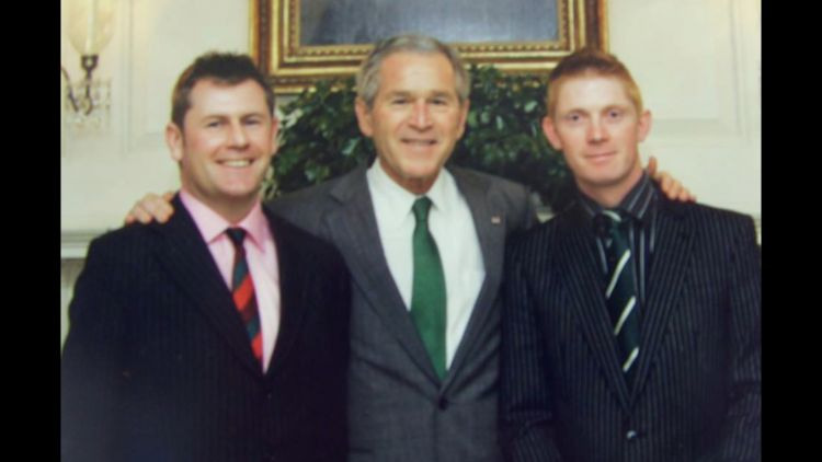 Trevor Coult with US President George W Bush.