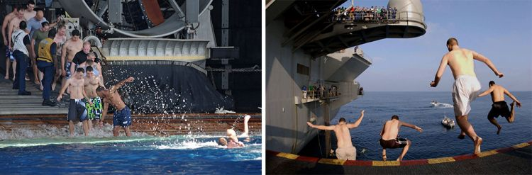 Hands To Bathe - Extreme Swimming On Board Ship