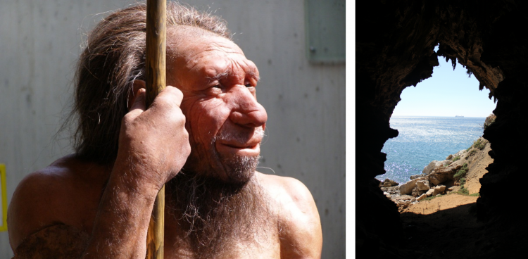 Neanderthal model and Gibraltar cave