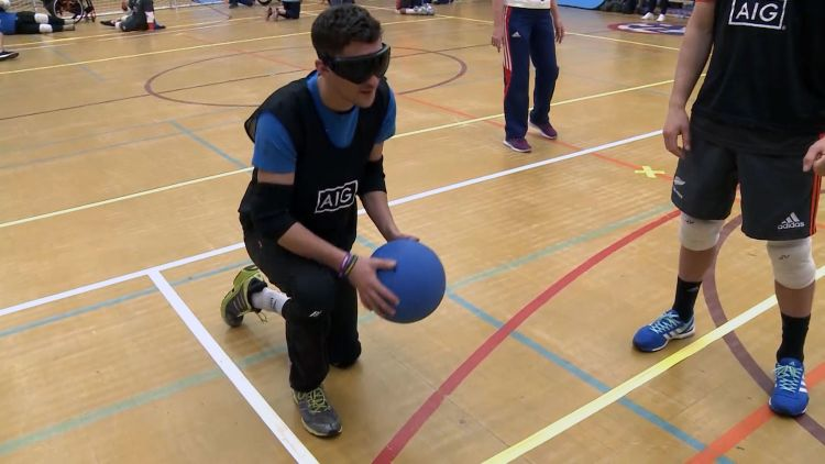 New Zealand rugby players try 'goalball'