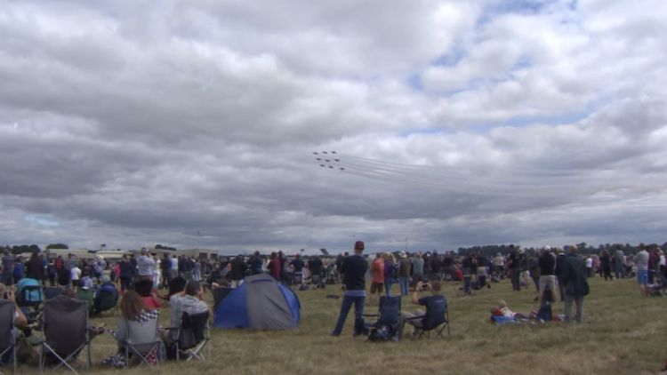 Fans watch Red Arrows display at RIAT